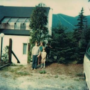 Todd, Liz and Seth in front of the condominium at The Bridges in Warren, VT