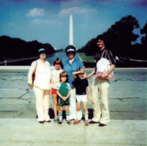 Walter Eisworth and family in Washington D.C. - Todd is the cameraman. (Grandma Arnold, Liz, Asher, Marcia, Seth and Dad)